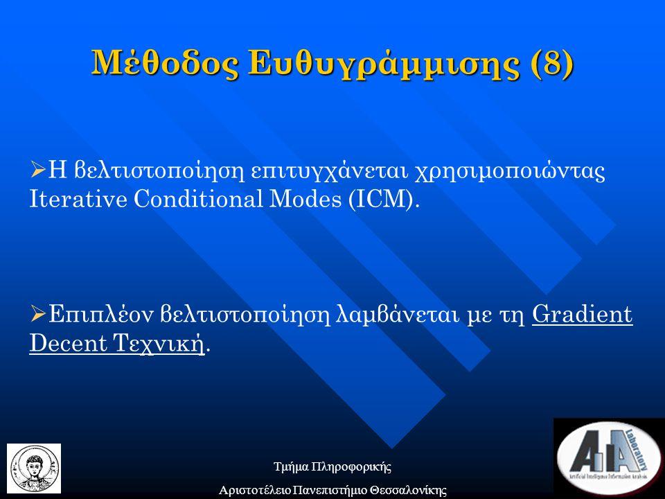 Τμήμα Πληροφορικής Αριστοτέλειο Πανεπιστήμιο Θεσσαλονίκης  Η βελτιστοποίηση επιτυγχάνεται χρησιμοποιώντας Iterative Conditional Modes (ICM).  Επιπλέ
