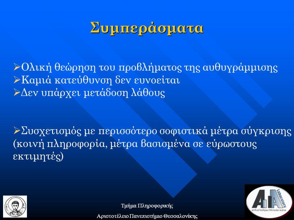 Τμήμα Πληροφορικής Αριστοτέλειο Πανεπιστήμιο Θεσσαλονίκης Συμπεράσματα  Ολική θεώρηση του προβλήματος της αυθυγράμμισης  Καμιά κατεύθυνση δεν ευνοείται  Δεν υπάρχει μετάδοση λάθους  Συσχετισμός με περισσότερο σοφιστικά μέτρα σύγκρισης (κοινή πληροφορία, μέτρα βασισμένα σε εύρωστους εκτιμητές)