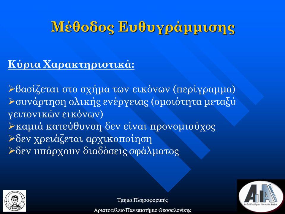 Τμήμα Πληροφορικής Αριστοτέλειο Πανεπιστήμιο Θεσσαλονίκης Μέθοδος Ευθυγράμμισης Κύρια Χαρακτηριστικά:  βασίζεται στο σχήμα των εικόνων (περίγραμμα)  συνάρτηση ολικής ενέργειας (ομοιότητα μεταξύ γειτονικών εικόνων)  καμιά κατεύθυνση δεν είναι προνομιούχος  δεν χρειάζεται αρχικοποίηση  δεν υπάρχουν διαδόσεις σφάλματος