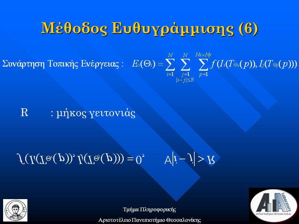 Τμήμα Πληροφορικής Αριστοτέλειο Πανεπιστήμιο Θεσσαλονίκης R: μήκος γειτονιάς Μέθοδος Ευθυγράμμισης (6)
