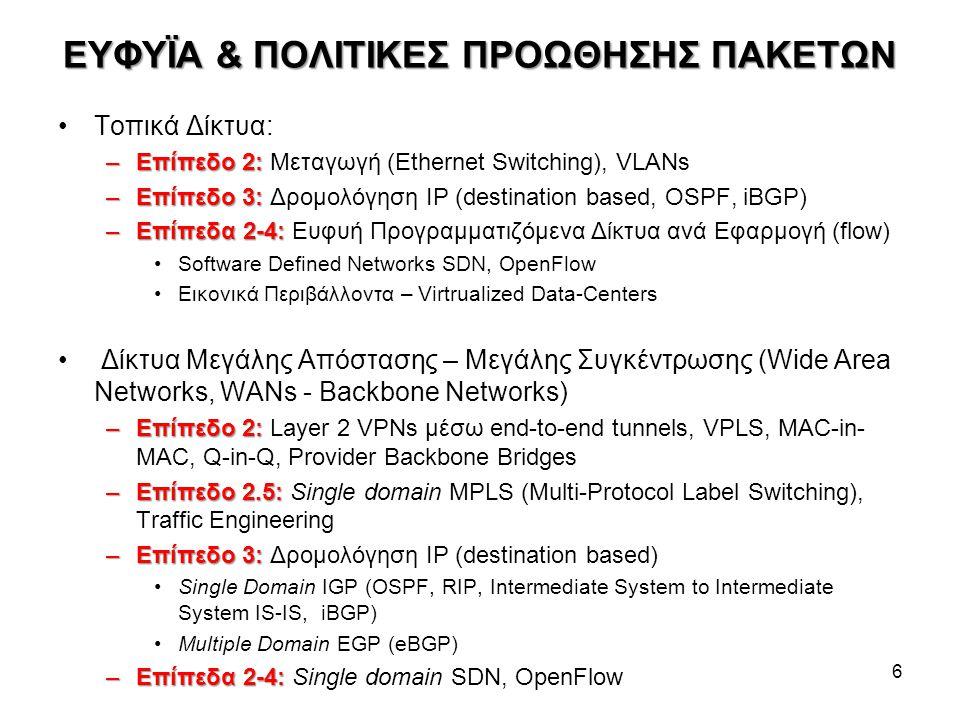 ΕΥΦΥΪΑ & ΠΟΛΙΤΙΚΕΣ ΠΡΟΩΘΗΣΗΣ ΠΑΚΕΤΩΝ Τοπικά Δίκτυα: –Επίπεδο 2: –Επίπεδο 2: Μεταγωγή (Ethernet Switching), VLANs –Επίπεδο 3: –Επίπεδο 3: Δρομολόγηση I