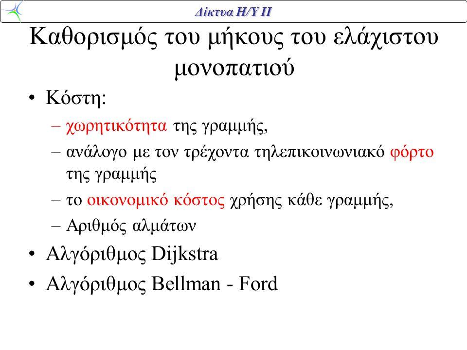 Δίκτυα Η/Υ ΙΙ Καθορισμός του μήκους του ελάχιστου μονοπατιού Κόστη: –χωρητικότητα της γραμμής, –ανάλογο με τον τρέχοντα τηλεπικοινωνιακό φόρτο της γραμμής –το οικονομικό κόστος χρήσης κάθε γραμμής, –Αριθμός αλμάτων Αλγόριθμος Dijkstra Αλγόριθμος Bellman - Ford