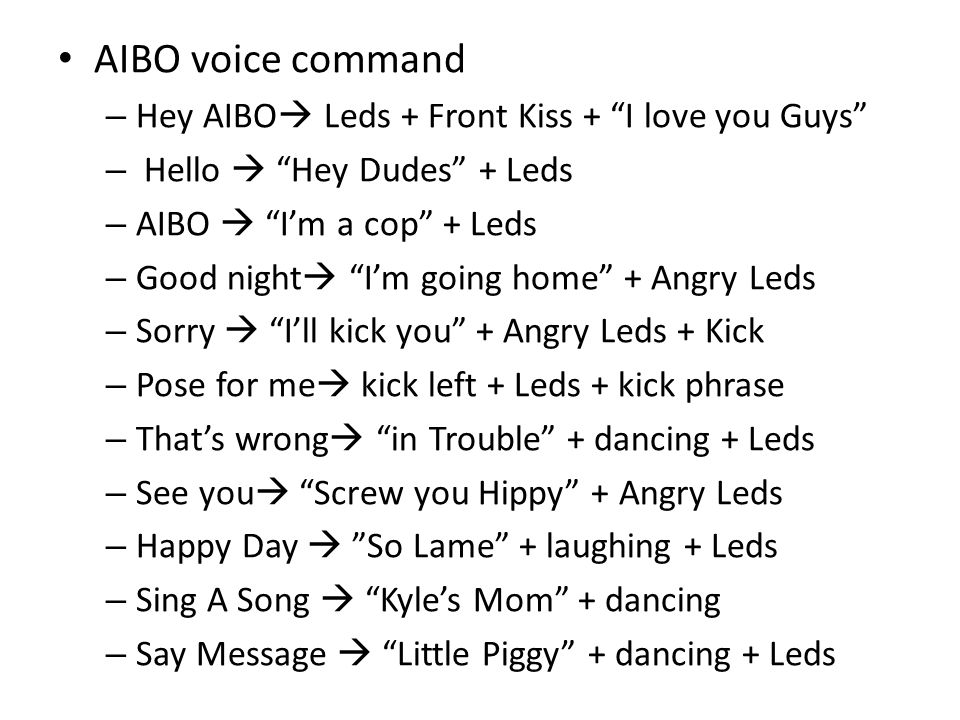 "AIBO voice command – Hey AIBO  Leds + Front Kiss + ""I love you Guys"" – Hello  ""Hey Dudes"" + Leds – AIBO  ""I'm a cop"" + Leds – Good night  ""I'm goi"