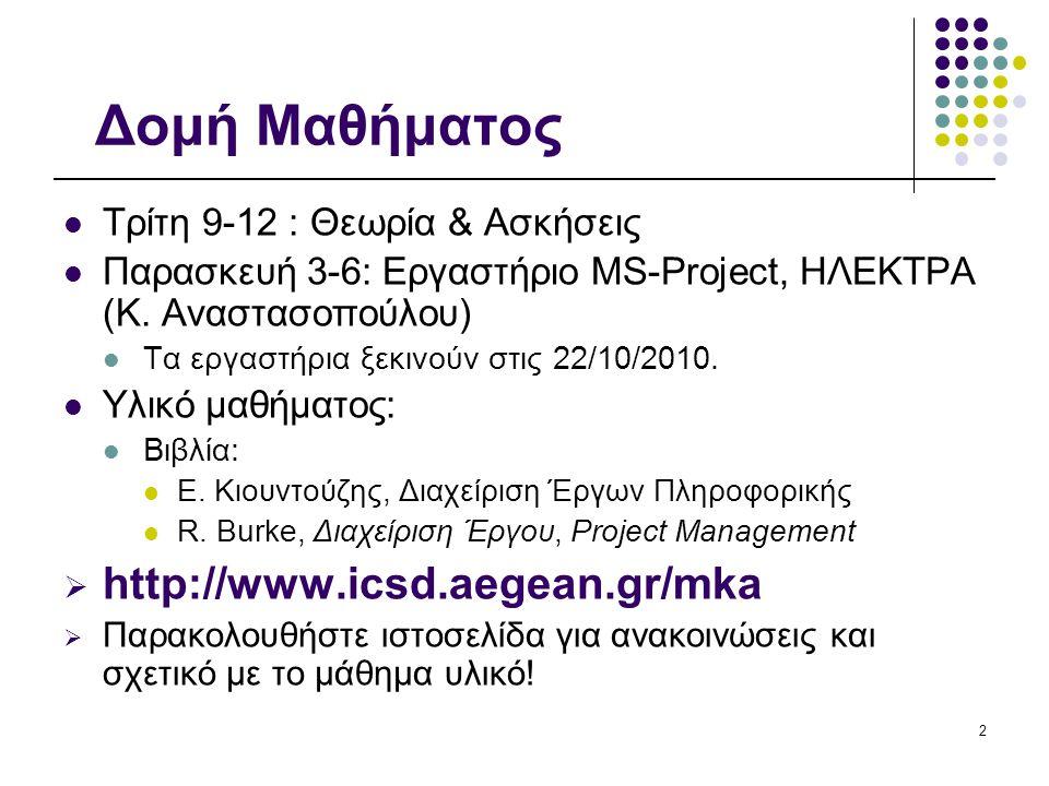 2 Δομή Μαθήματος Τρίτη 9-12 : Θεωρία & Ασκήσεις Παρασκευή 3-6: Εργαστήριο MS-Project, ΗΛΕΚΤΡΑ (Κ.