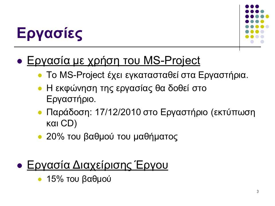 3 Εργασίες Εργασία με χρήση του MS-Project Το MS-Project έχει εγκατασταθεί στα Εργαστήρια.