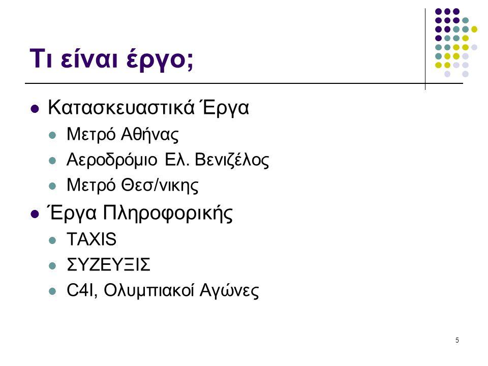 5 Τι είναι έργο; Κατασκευαστικά Έργα Μετρό Αθήνας Αεροδρόμιο Ελ.