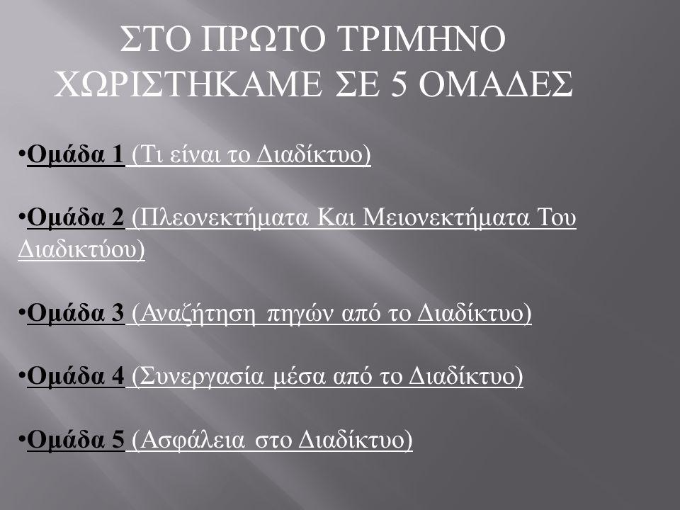 ΣΤΟ ΠΡΩΤΟ ΤΡΙΜΗΝΟ ΧΩΡΙΣΤΗΚΑΜΕ ΣΕ 5 ΟΜΑΔΕΣ Ομάδα 1 ( Τι είναι το Διαδίκτυο ) Ομάδα 2 ( Πλεονεκτήματα Και Μειονεκτήματα Του Διαδικτύου ) Ομάδα 3 ( Αναζή