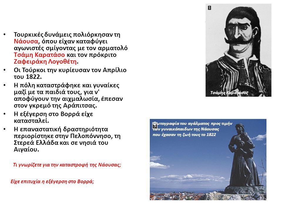 Τουρκικές δυνάμεις πολιόρκησαν τη Νάουσα, όπου είχαν καταφύγει αγωνιστές σμίγοντας με τον αρματολό Τσάμη Καρατάσο και τον πρόκριτο Ζαφειράκη Λογοθέτη.
