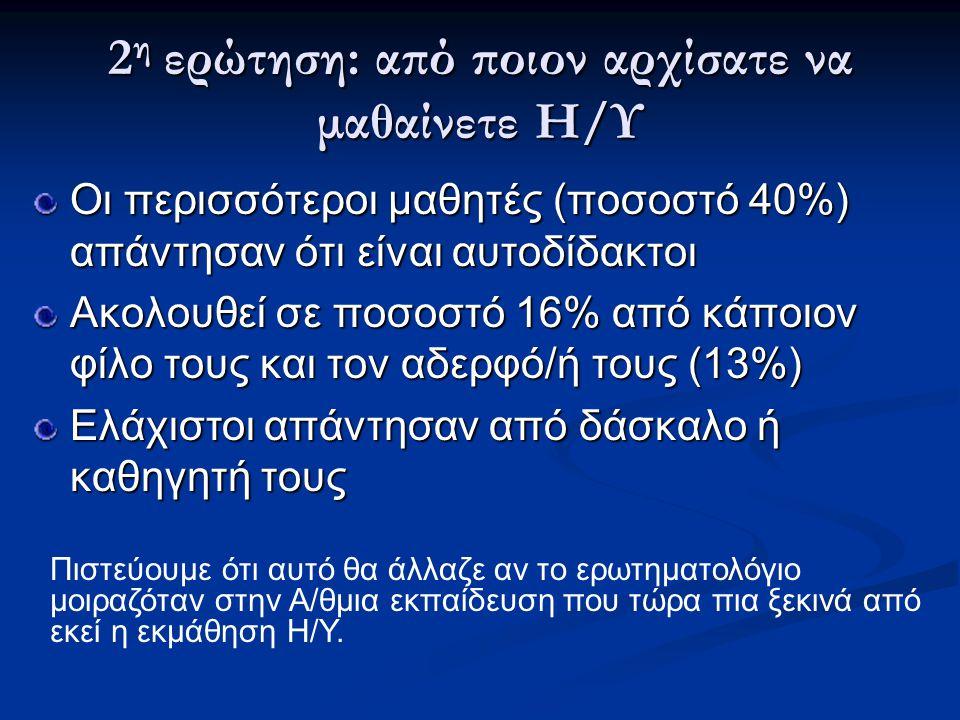2 η ερώτηση: από ποιον αρχίσατε να μαθαίνετε Η/Υ Οι περισσότεροι μαθητές (ποσοστό 40%) απάντησαν ότι είναι αυτοδίδακτοι Ακολουθεί σε ποσοστό 16% από κ