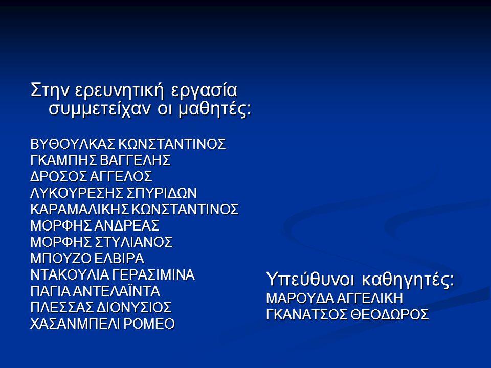 Στην ερευνητική εργασία συμμετείχαν οι μαθητές: ΒΥΘΟΥΛΚΑΣ ΚΩΝΣΤΑΝΤΙΝΟΣ ΓΚΑΜΠΗΣ ΒΑΓΓΕΛΗΣ ΔΡΟΣΟΣ ΑΓΓΕΛΟΣ ΛΥΚΟΥΡΕΣΗΣ ΣΠΥΡΙΔΩΝ ΚΑΡΑΜΑΛΙΚΗΣ ΚΩΝΣΤΑΝΤΙΝΟΣ ΜΟ
