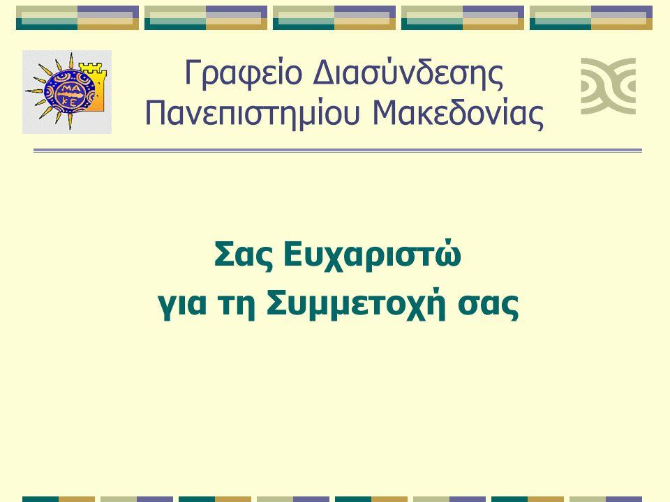 Σας Ευχαριστώ για τη Συμμετοχή σας Γραφείο Διασύνδεσης Πανεπιστημίου Μακεδονίας