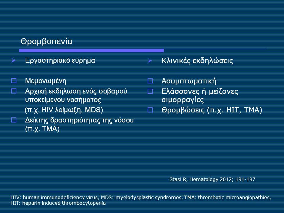 Θρομβοπενία  Εργαστηριακό εύρημα  Μεμονωμένη  Αρχική εκδήλωση ενός σοβαρού υποκείμενου νοσήματος (π.χ. HIV λοίμωξη, MDS)  Δείκτης δραστηριότητας τ