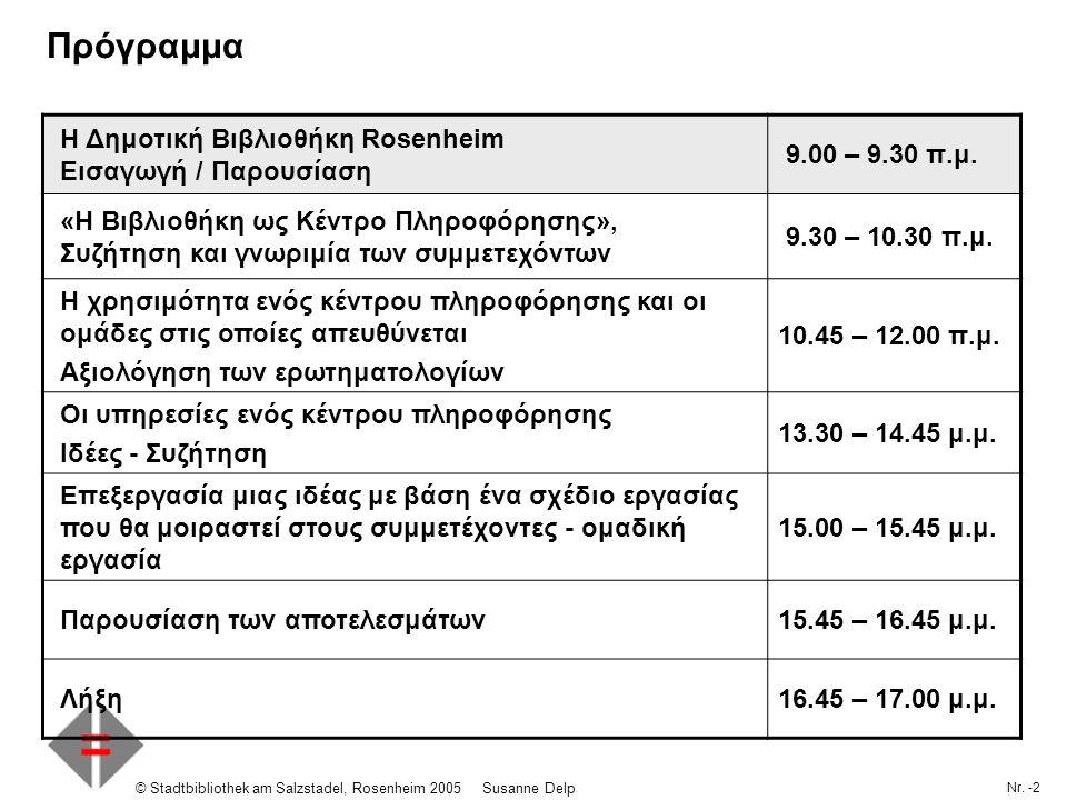 Nr. -2 © Stadtbibliothek am Salzstadel, Rosenheim 2005Susanne Delp Πρόγραμμα Η Δημοτική Βιβλιοθήκη Rosenheim Εισαγωγή / Παρουσίαση 9.00 – 9.30 π.μ. «Η