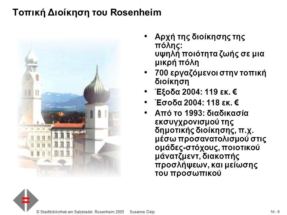 Nr. -6 © Stadtbibliothek am Salzstadel, Rosenheim 2005Susanne Delp Τοπική Διοίκηση του Rosenheim Αρχή της διοίκησης της πόλης: υψηλή ποιότητα ζωής σε