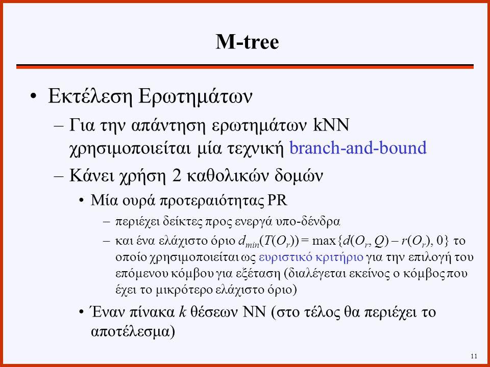 Εκτέλεση Ερωτημάτων –Για την απάντηση ερωτημάτων kNN χρησιμοποιείται μία τεχνική branch-and-bound –Κάνει χρήση 2 καθολικών δομών Μία ουρά προτεραιότητας PR –περιέχει δείκτες προς ενεργά υπο-δένδρα –και ένα ελάχιστο όριο d min (T(O r )) = max{d(O r, Q) – r(O r ), 0} το οποίο χρησιμοποιείται ως ευριστικό κριτήριο για την επιλογή του επόμενου κόμβου για εξέταση (διαλέγεται εκείνος ο κόμβος που έχει το μικρότερο ελάχιστο όριο) Έναν πίνακα k θέσεων ΝΝ (στο τέλος θα περιέχει το αποτέλεσμα) 11 Μ-tree