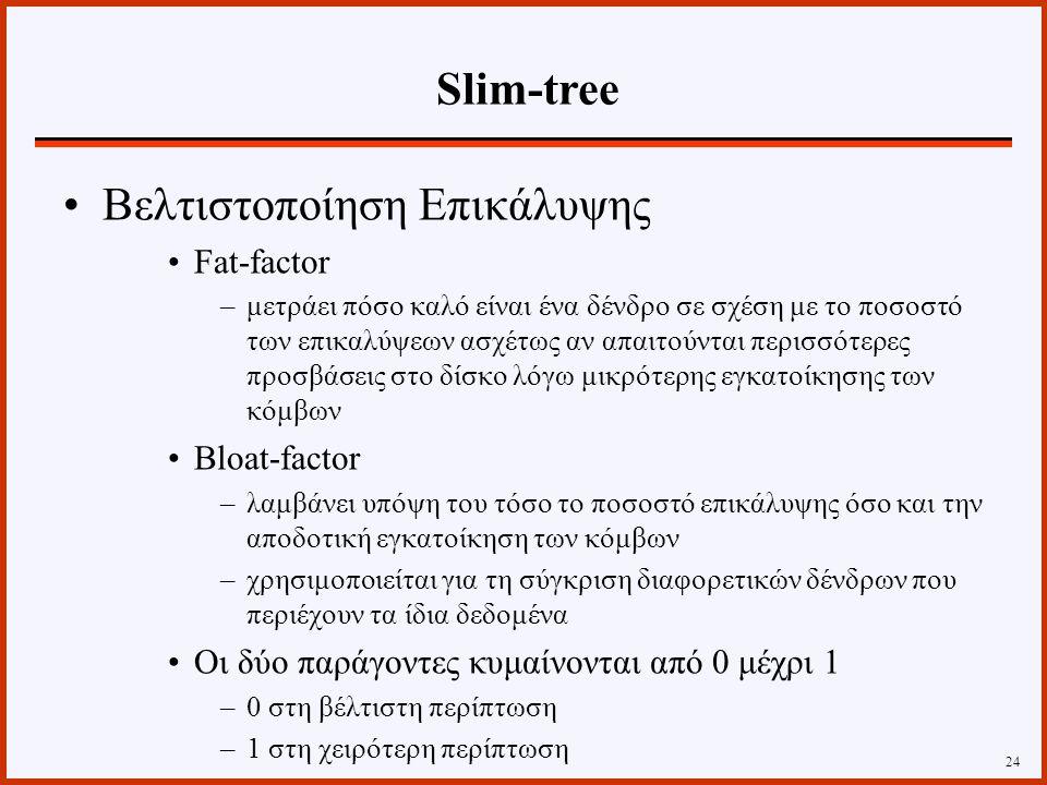 Βελτιστοποίηση Επικάλυψης Fat-factor –μετράει πόσο καλό είναι ένα δένδρο σε σχέση με το ποσοστό των επικαλύψεων ασχέτως αν απαιτούνται περισσότερες προσβάσεις στο δίσκο λόγω μικρότερης εγκατοίκησης των κόμβων Bloat-factor –λαμβάνει υπόψη του τόσο το ποσοστό επικάλυψης όσο και την αποδοτική εγκατοίκηση των κόμβων –χρησιμοποιείται για τη σύγκριση διαφορετικών δένδρων που περιέχουν τα ίδια δεδομένα Οι δύο παράγοντες κυμαίνονται από 0 μέχρι 1 –0 στη βέλτιστη περίπτωση –1 στη χειρότερη περίπτωση 24 Slim-tree
