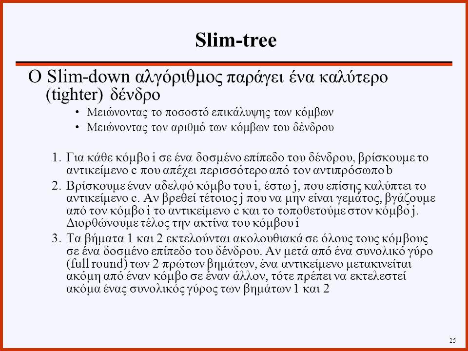 Ο Slim-down αλγόριθμος παράγει ένα καλύτερο (tighter) δένδρο Μειώνοντας το ποσοστό επικάλυψης των κόμβων Μειώνοντας τον αριθμό των κόμβων του δένδρου 1.Για κάθε κόμβο i σε ένα δοσμένο επίπεδο του δένδρου, βρίσκουμε το αντικείμενο c που απέχει περισσότερο από τον αντιπρόσωπο b 2.Βρίσκουμε έναν αδελφό κόμβο του i, έστω j, που επίσης καλύπτει το αντικείμενο c.