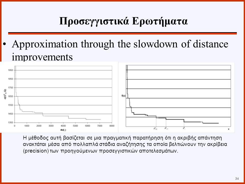 Approximation through the slowdown of distance improvements 34 Η μέθοδος αυτή βασίζεται σε μια πραγματική παρατήρηση ότι η ακριβής απάντηση ανακτάται μέσα από πολλαπλά στάδια αναζήτησης τα οποία βελτιώνουν την ακρίβεια (precision) των προηγούμενων προσεγγιστικών αποτελεσμάτων.
