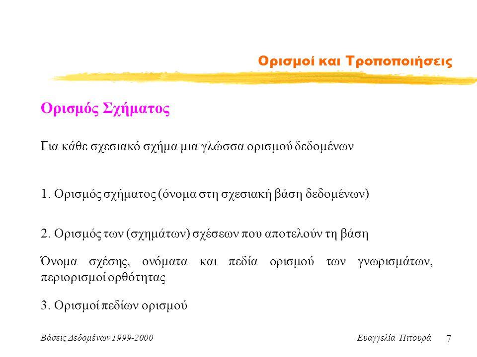 Βάσεις Δεδομένων 1999-2000 Ευαγγελία Πιτουρά 7 Ορισμοί και Τροποποιήσεις Ορισμός Σχήματος Για κάθε σχεσιακό σχήμα μια γλώσσα ορισμού δεδομένων 1.