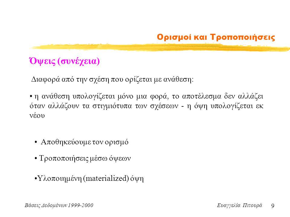 Βάσεις Δεδομένων 1999-2000 Ευαγγελία Πιτουρά 9 Ορισμοί και Τροποποιήσεις Διαφορά από την σχέση που ορίζεται με ανάθεση: η ανάθεση υπολογίζεται μόνο μια φορά, το αποτέλεσμα δεν αλλάζει όταν αλλάζουν τα στιγμιότυπα των σχέσεων - η όψη υπολογίζεται εκ νέου Όψεις (συνέχεια) Αποθηκεύουμε τον ορισμό Τροποποιήσεις μέσω όψεων Υλοποιημένη (materialized) όψη