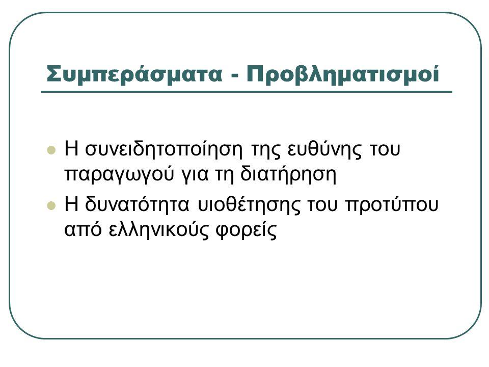 Συμπεράσματα - Προβληματισμοί Η συνειδητοποίηση της ευθύνης του παραγωγού για τη διατήρηση Η δυνατότητα υιοθέτησης του προτύπου από ελληνικούς φορείς