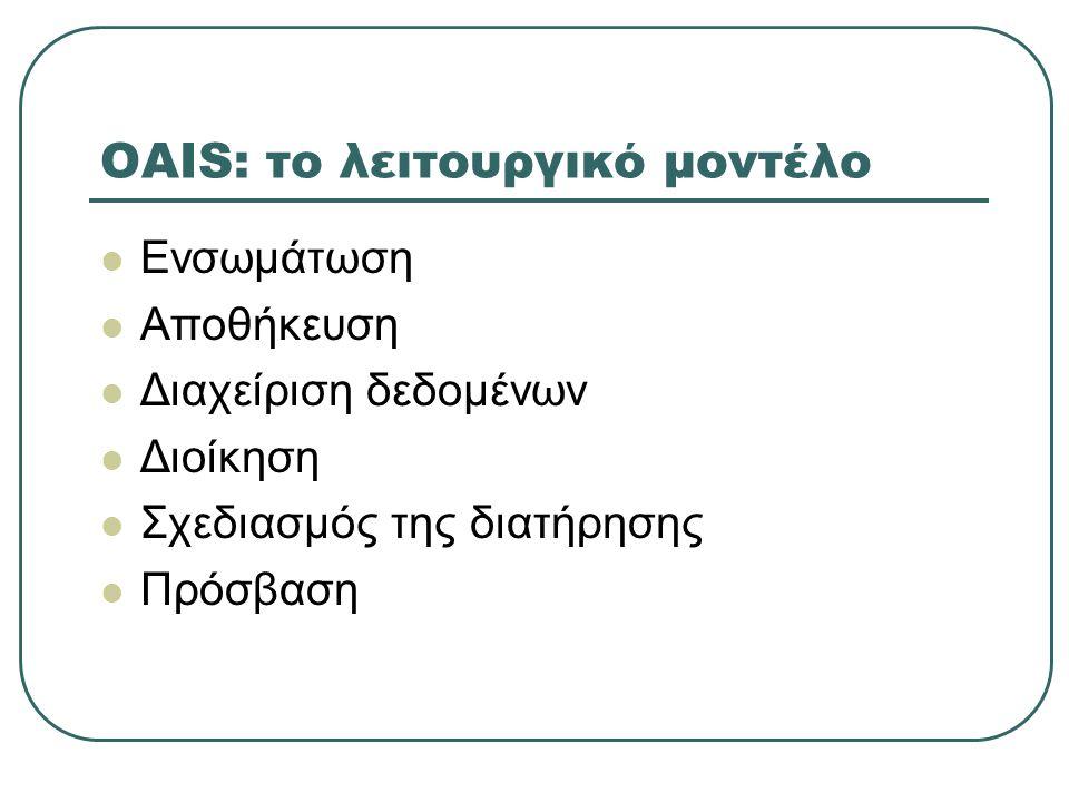 OAIS: το λειτουργικό μοντέλο Ενσωμάτωση Αποθήκευση Διαχείριση δεδομένων Διοίκηση Σχεδιασμός της διατήρησης Πρόσβαση
