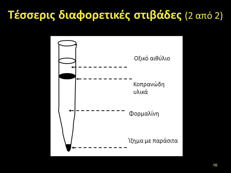 Τέσσερις διαφορετικές στιβάδες (2 από 2) Οξικό αιθύλιο Κοπρανώδη υλικά Φορμαλίνη Ίζημα με παράσιτα 16