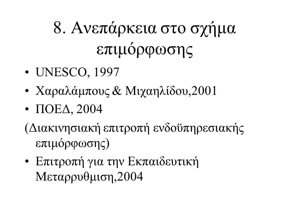 8. Ανεπάρκεια στο σχήμα επιμόρφωσης UNESCO, 1997 Χαραλάμπους & Μιχαηλίδου,2001 ΠΟΕΔ, 2004 (Διακινησιακή επιτροπή ενδοϋπηρεσιακής επιμόρφωσης) Επιτροπή