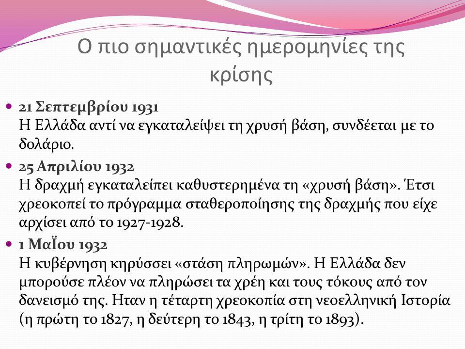 Ο πιο σημαντικές ημερομηνίες της κρίσης 21 Σεπτεμβρίου 1931 Η Ελλάδα αντί να εγκαταλείψει τη χρυσή βάση, συνδέεται με το δολάριο. 25 Απριλίου 1932 Η δ