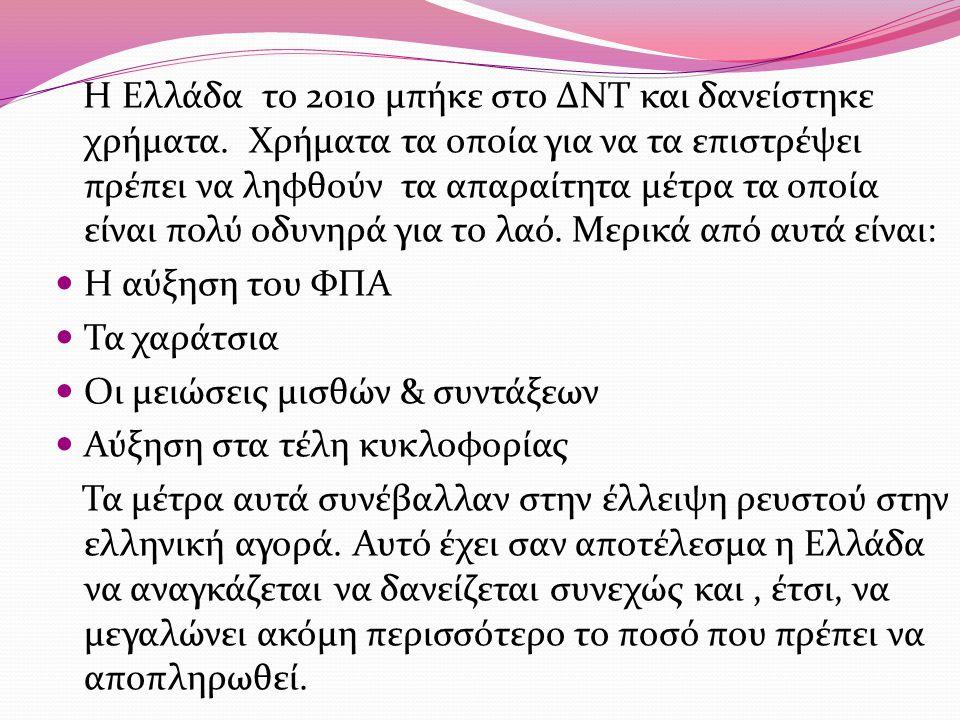 Η Ελλάδα το 2010 μπήκε στο ΔΝΤ και δανείστηκε χρήματα. Χρήματα τα οποία για να τα επιστρέψει πρέπει να ληφθούν τα απαραίτητα μέτρα τα οποία είναι πολύ