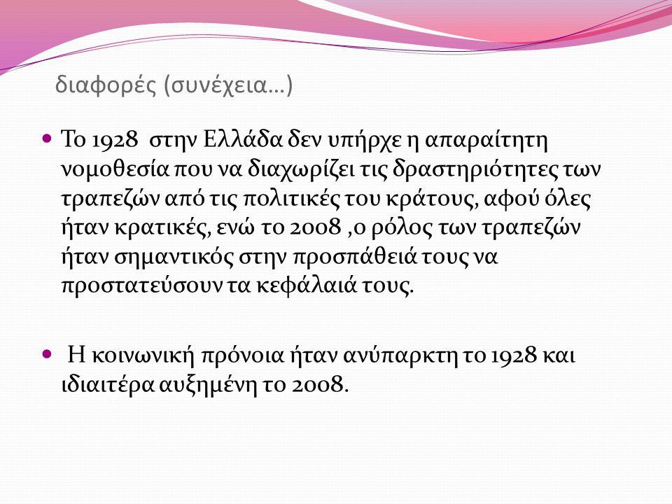 διαφορές (συνέχεια…) Το 1928 στην Ελλάδα δεν υπήρχε η απαραίτητη νομοθεσία που να διαχωρίζει τις δραστηριότητες των τραπεζών από τις πολιτικές του κρά