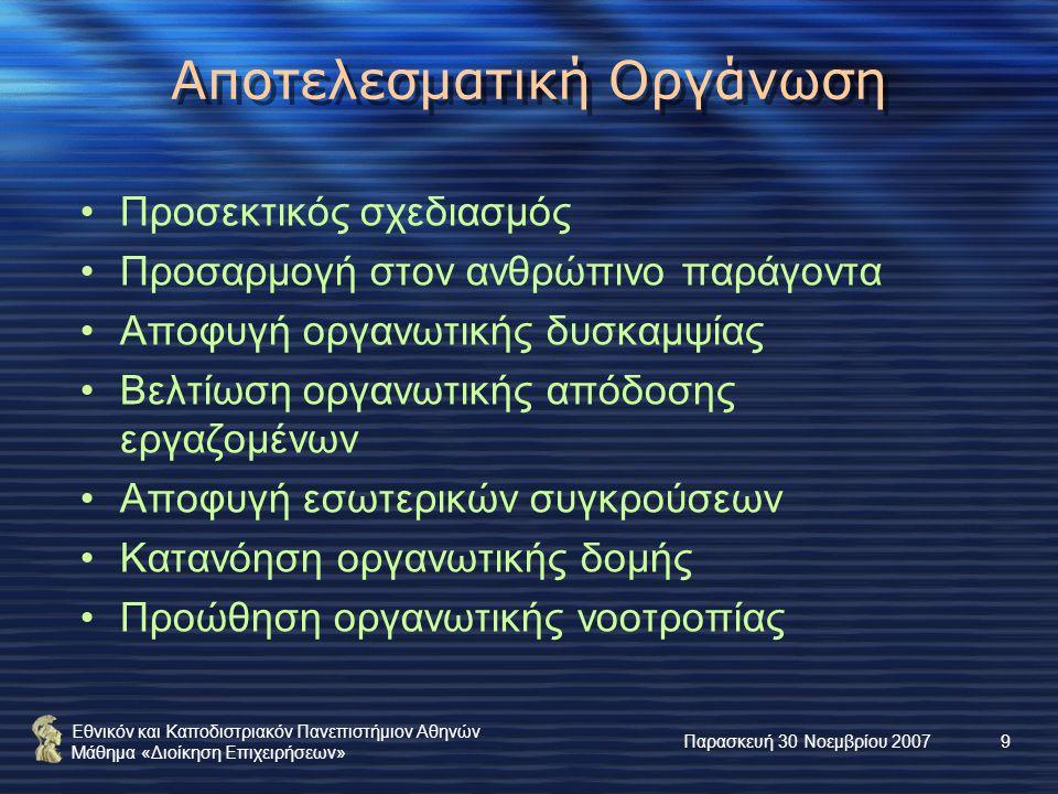 Εθνικόν και Καποδιστριακόν Πανεπιστήμιον Αθηνών Μάθημα «Διοίκηση Επιχειρήσεων» Παρασκευή 30 Νοεμβρίου 20079 Αποτελεσματική Οργάνωση Προσεκτικός σχεδιασμός Προσαρμογή στον ανθρώπινο παράγοντα Αποφυγή οργανωτικής δυσκαμψίας Βελτίωση οργανωτικής απόδοσης εργαζομένων Αποφυγή εσωτερικών συγκρούσεων Κατανόηση οργανωτικής δομής Προώθηση οργανωτικής νοοτροπίας