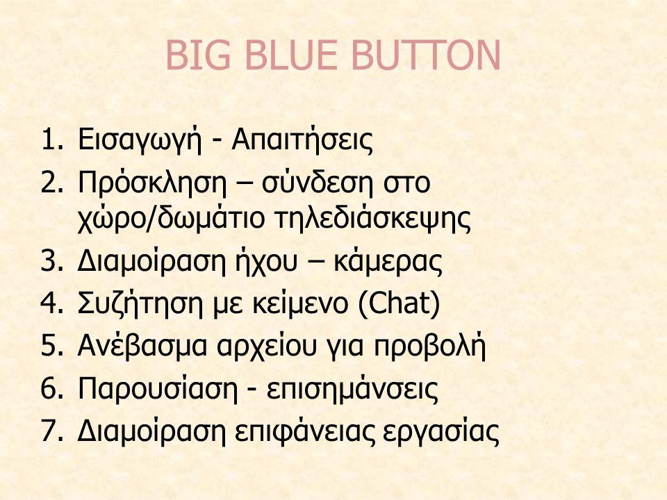 BIG BLUE BUTTON 1.Εισαγωγή - Απαιτήσεις 2.Πρόσκληση – σύνδεση στο χώρο/δωμάτιο τηλεδιάσκεψης 3.Διαμοίραση ήχου – κάμερας 4.Συζήτηση με κείμενο (Chat)
