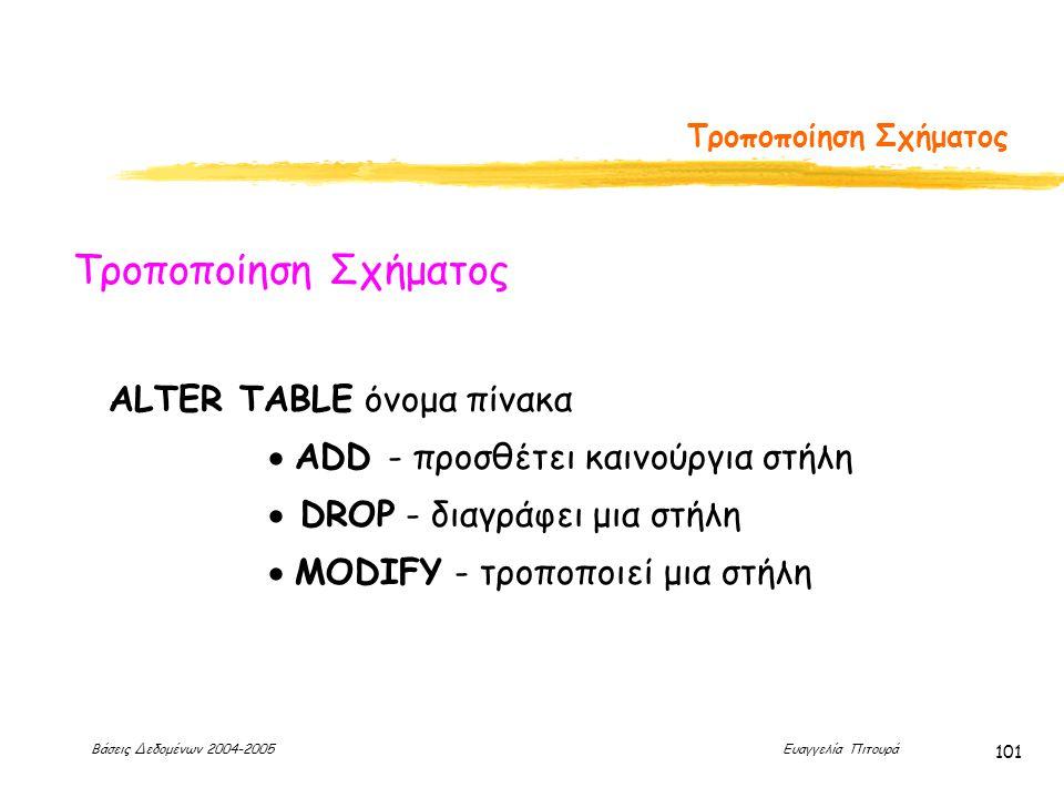Βάσεις Δεδομένων 2004-2005 Ευαγγελία Πιτουρά 101 Τροποποίηση Σχήματος ALTER TABLE όνομα πίνακα  ADD - προσθέτει καινούργια στήλη  DROP - διαγράφει μια στήλη  MODIFY - τροποποιεί μια στήλη