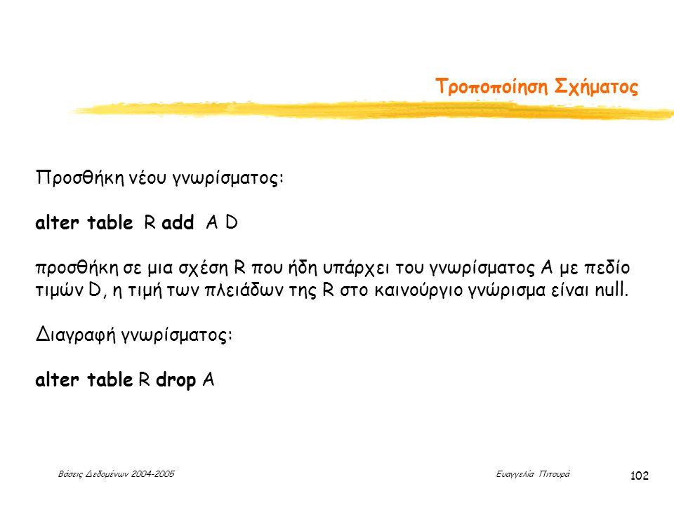 Βάσεις Δεδομένων 2004-2005 Ευαγγελία Πιτουρά 102 Τροποποίηση Σχήματος Προσθήκη νέου γνωρίσματος: alter table R add A D προσθήκη σε μια σχέση R που ήδη υπάρχει του γνωρίσματος A με πεδίο τιμών D, η τιμή των πλειάδων της R στο καινούργιο γνώρισμα είναι null.