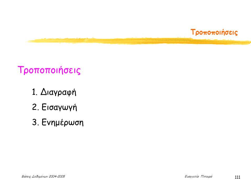 Βάσεις Δεδομένων 2004-2005 Ευαγγελία Πιτουρά 111 Τροποποιήσεις 1. Διαγραφή 2. Εισαγωγή 3. Ενημέρωση