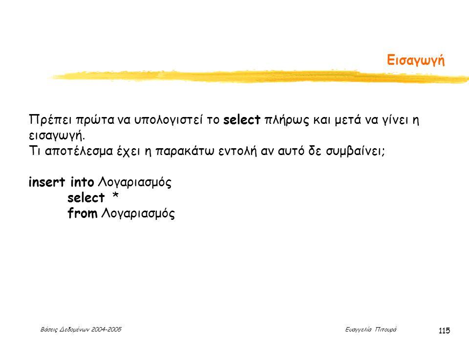 Βάσεις Δεδομένων 2004-2005 Ευαγγελία Πιτουρά 115 Εισαγωγή Πρέπει πρώτα να υπολογιστεί το select πλήρως και μετά να γίνει η εισαγωγή.