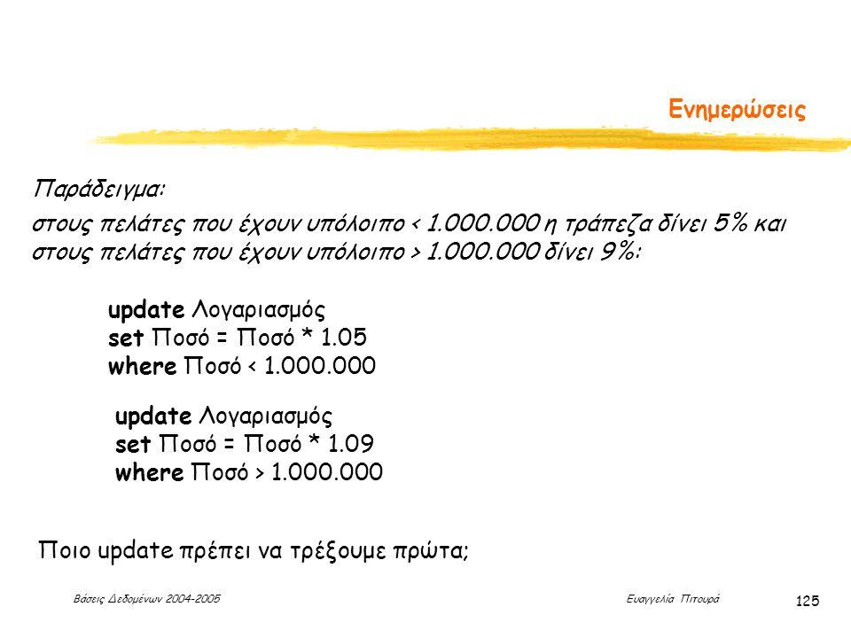 Βάσεις Δεδομένων 2004-2005 Ευαγγελία Πιτουρά 125 Ενημερώσεις Παράδειγμα: στους πελάτες που έχουν υπόλοιπο 1.000.000 δίνει 9%: update Λογαριασμός set Ποσό = Ποσό * 1.05 where Ποσό < 1.000.000 update Λογαριασμός set Ποσό = Ποσό * 1.09 where Ποσό > 1.000.000 Ποιο update πρέπει να τρέξουμε πρώτα;