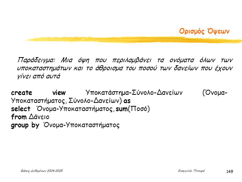 Βάσεις Δεδομένων 2004-2005 Ευαγγελία Πιτουρά 149 Ορισμός Όψεων Παράδειγμα: Μια όψη που περιλαμβάνει τα ονόματα όλων των υποκαταστημάτων και το άθροισμα του ποσού των δανείων που έχουν γίνει από αυτά create view Υποκατάστημα-Σύνολο-Δανείων (Όνομα- Υποκαταστήματος, Σύνολο-Δανείων) as select Όνομα-Υποκαταστήματος, sum(Ποσό) from Δάνειο group by Όνομα-Υποκαταστήματος