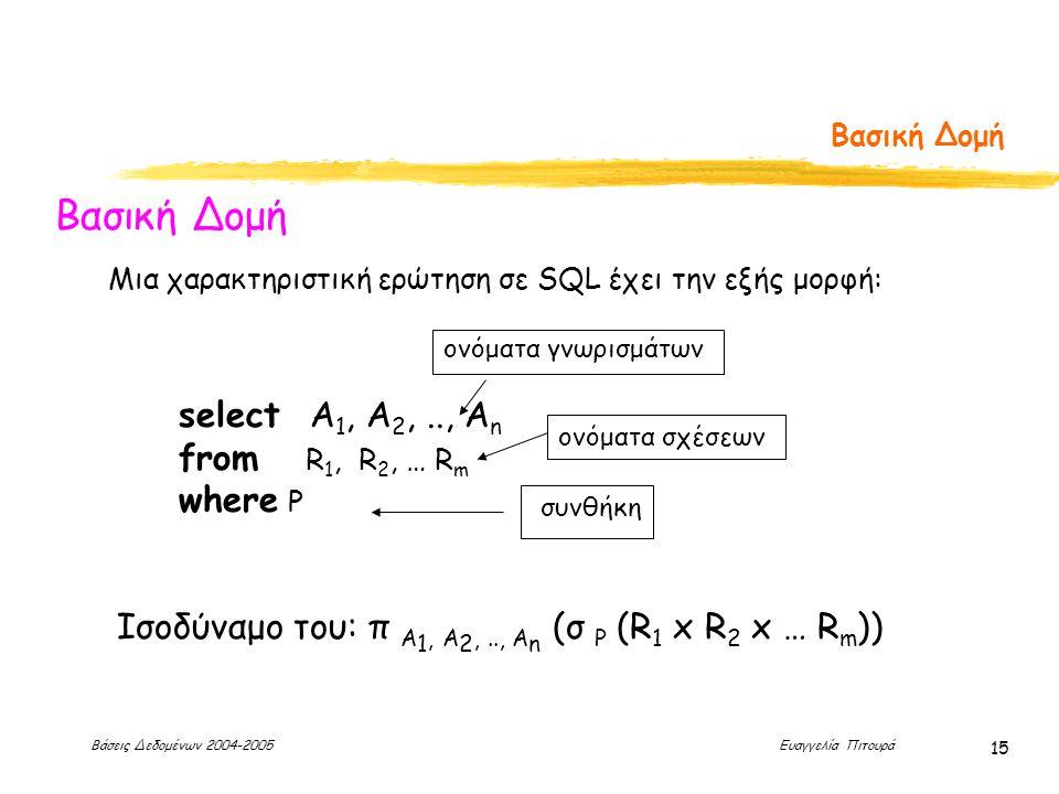 Βάσεις Δεδομένων 2004-2005 Ευαγγελία Πιτουρά 15 Βασική Δομή select Α 1, Α 2,.., Α n from R 1, R 2, … R m where P Μια χαρακτηριστική ερώτηση σε SQL έχει την εξής μορφή: Ισοδύναμο του: π A 1, A 2,.., A n (σ P (R 1 x R 2 x … R m )) ονόματα σχέσεων ονόματα γνωρισμάτων συνθήκη
