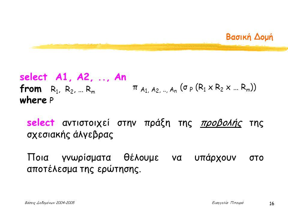 Βάσεις Δεδομένων 2004-2005 Ευαγγελία Πιτουρά 16 Βασική Δομή select αντιστοιχεί στην πράξη της προβολής της σχεσιακής άλγεβρας Ποια γνωρίσματα θέλουμε να υπάρχουν στο αποτέλεσμα της ερώτησης.