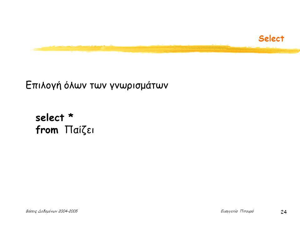 Βάσεις Δεδομένων 2004-2005 Ευαγγελία Πιτουρά 24 Select select * from Παίζει Επιλογή όλων των γνωρισμάτων
