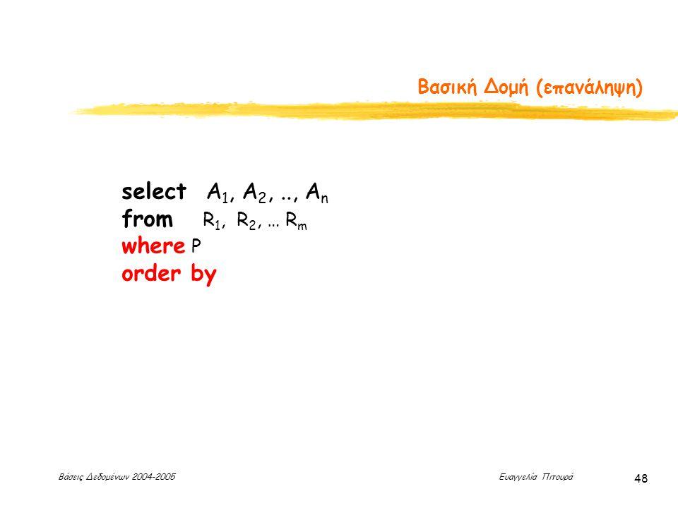 Βάσεις Δεδομένων 2004-2005 Ευαγγελία Πιτουρά 48 Βασική Δομή (επανάληψη) select Α 1, Α 2,.., Α n from R 1, R 2, … R m where P order by