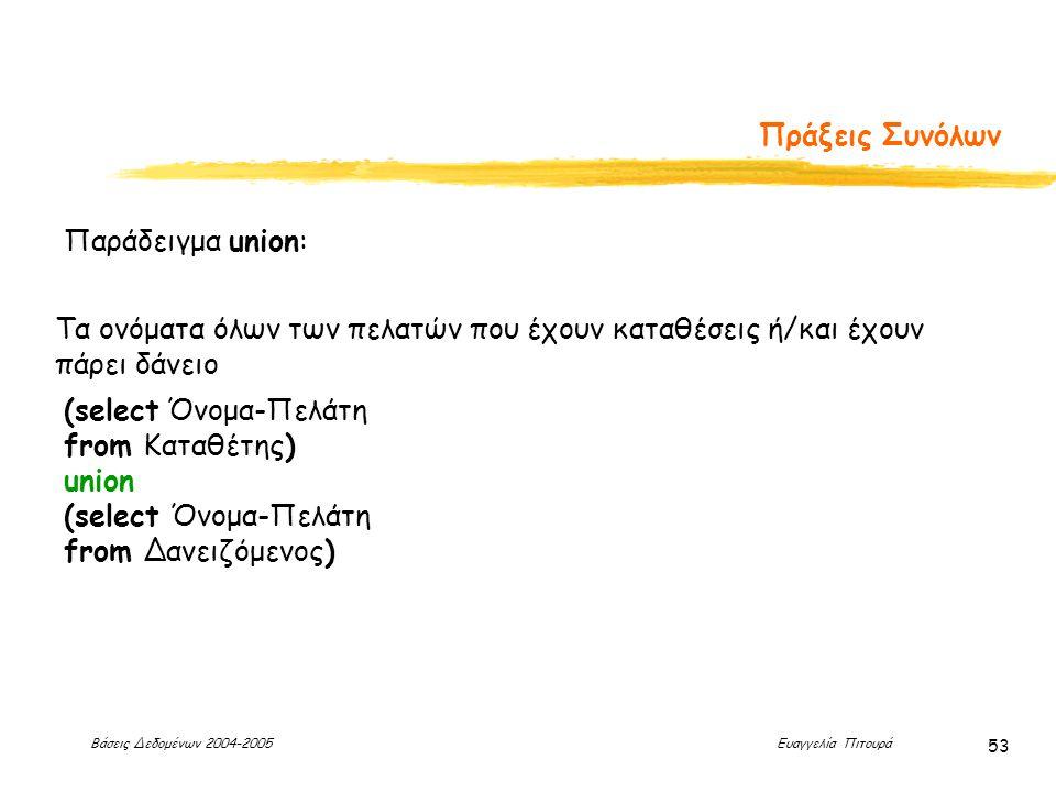 Βάσεις Δεδομένων 2004-2005 Ευαγγελία Πιτουρά 53 Πράξεις Συνόλων Παράδειγμα union: (select Όνομα-Πελάτη from Καταθέτης) union (select Όνομα-Πελάτη from Δανειζόμενος) Τα ονόματα όλων των πελατών που έχουν καταθέσεις ή/και έχουν πάρει δάνειο