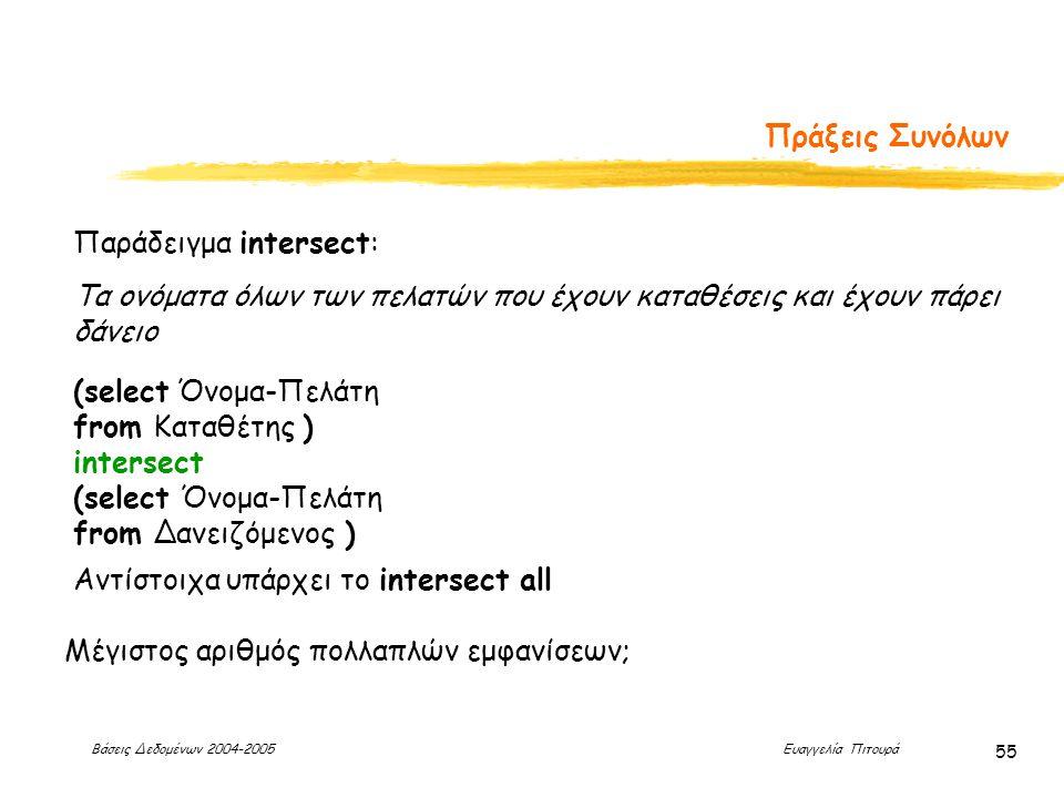 Βάσεις Δεδομένων 2004-2005 Ευαγγελία Πιτουρά 55 Πράξεις Συνόλων Αντίστοιχα υπάρχει το intersect all Μέγιστος αριθμός πολλαπλών εμφανίσεων; Παράδειγμα intersect: (select Όνομα-Πελάτη from Καταθέτης ) intersect (select Όνομα-Πελάτη from Δανειζόμενος ) Τα ονόματα όλων των πελατών που έχουν καταθέσεις και έχουν πάρει δάνειο