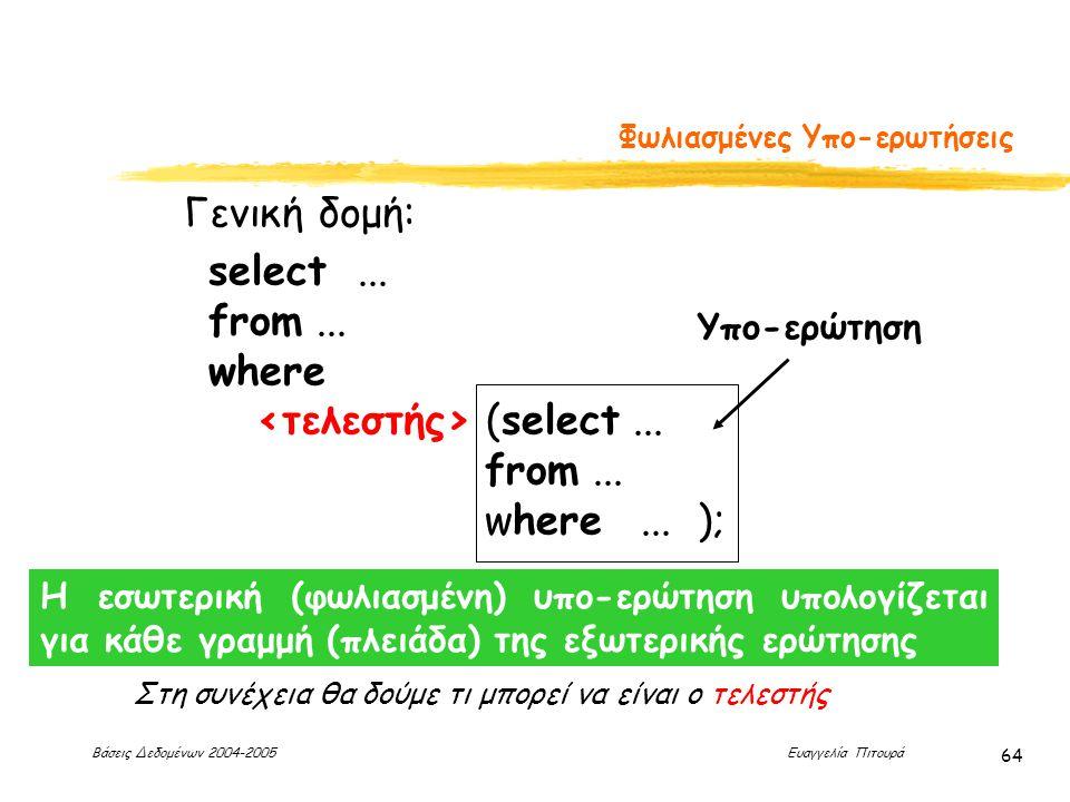 Βάσεις Δεδομένων 2004-2005 Ευαγγελία Πιτουρά 64 Φωλιασμένες Υπο-ερωτήσεις Γενική δομή: select...
