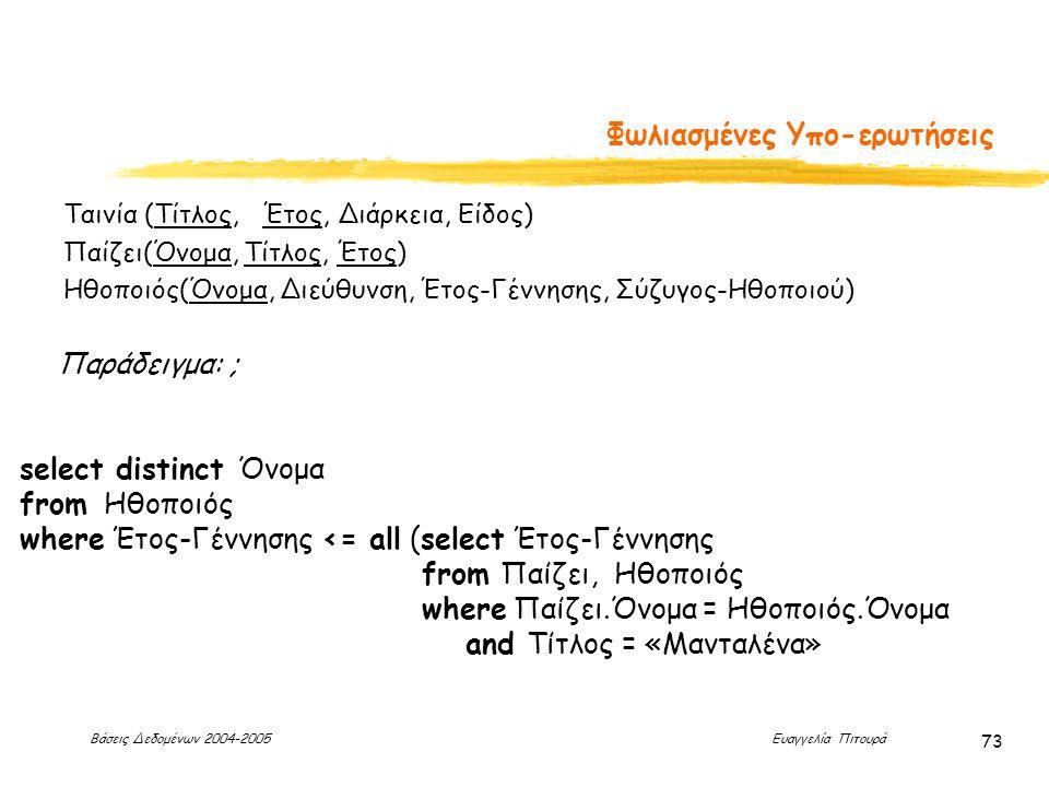 Βάσεις Δεδομένων 2004-2005 Ευαγγελία Πιτουρά 73 Φωλιασμένες Υπο-ερωτήσεις Παράδειγμα: ; select distinct Όνομα from Ηθοποιός where Έτος-Γέννησης <= all (select Έτος-Γέννησης from Παίζει, Ηθοποιός where Παίζει.Όνομα = Ηθοποιός.Όνομα and Τίτλος = «Μανταλένα» Ταινία (Τίτλος, Έτος, Διάρκεια, Είδος) Παίζει(Όνομα, Τίτλος, Έτος) Ηθοποιός(Όνομα, Διεύθυνση, Έτος-Γέννησης, Σύζυγος-Ηθοποιού)