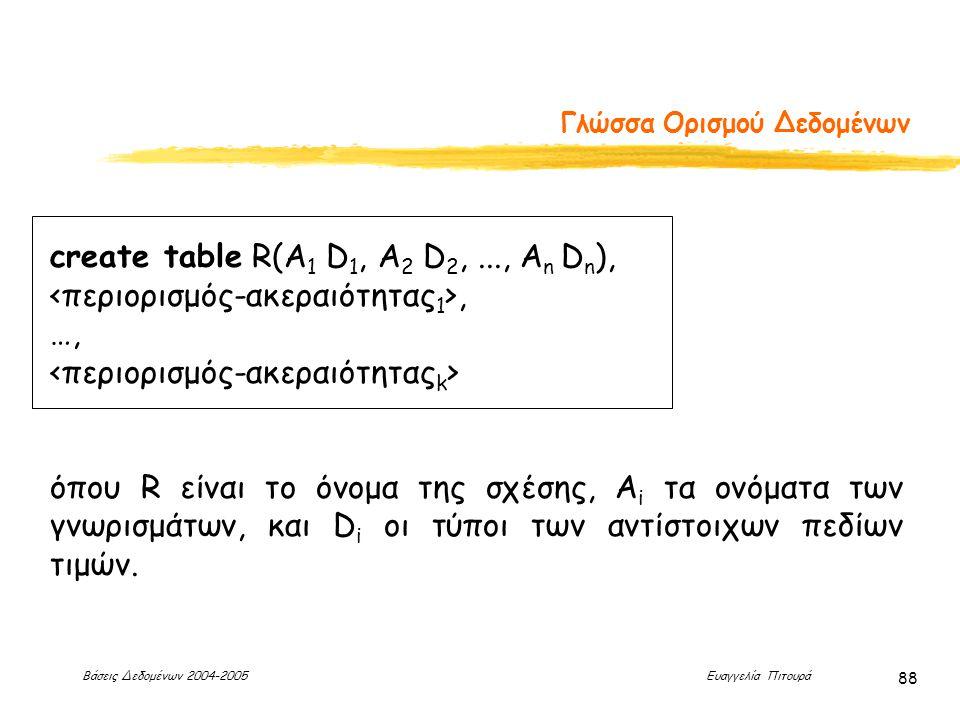 Βάσεις Δεδομένων 2004-2005 Ευαγγελία Πιτουρά 88 Γλώσσα Ορισμού Δεδομένων create table R(A 1 D 1, A 2 D 2,..., A n D n ),, …, όπου R είναι το όνομα της σχέσης, A i τα ονόματα των γνωρισμάτων, και D i οι τύποι των αντίστοιχων πεδίων τιμών.