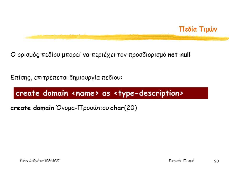 Βάσεις Δεδομένων 2004-2005 Ευαγγελία Πιτουρά 90 Πεδία Τιμών Ο ορισμός πεδίου μπορεί να περιέχει τον προσδιορισμό not null Επίσης, επιτρέπεται δημιουργία πεδίου: create domain Όνομα-Προσώπου char(20) create domain as