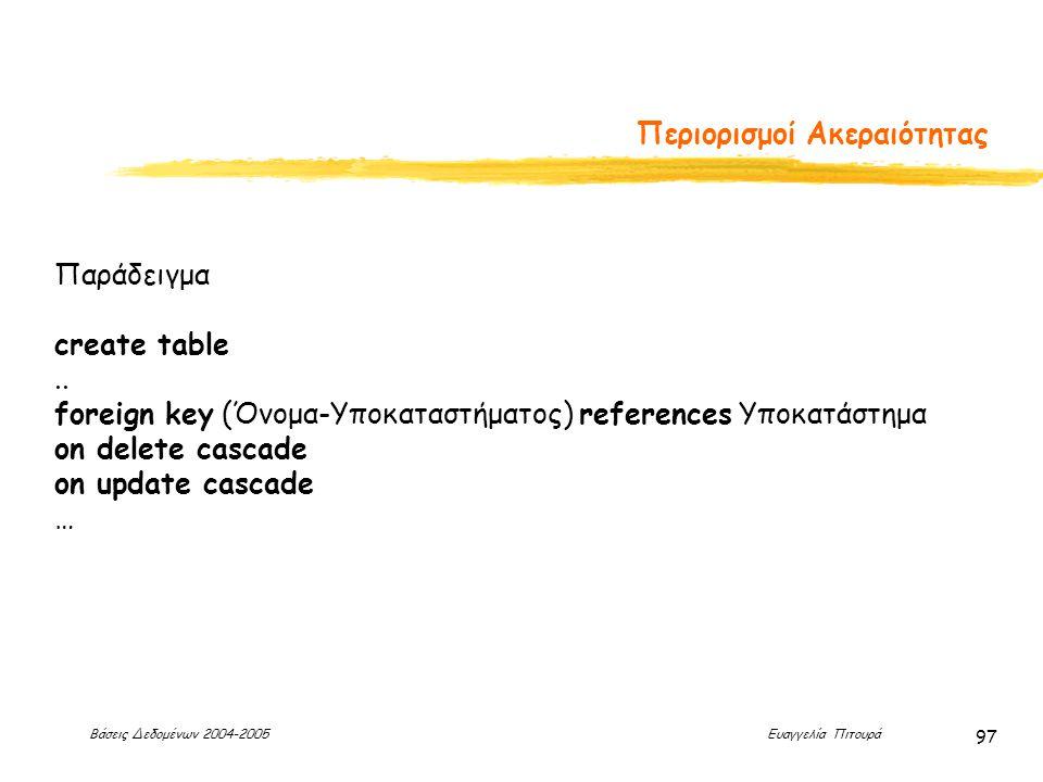 Βάσεις Δεδομένων 2004-2005 Ευαγγελία Πιτουρά 97 Περιορισμοί Ακεραιότητας Παράδειγμα create table..